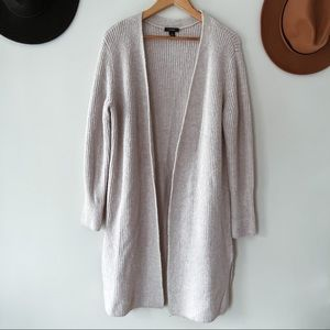 HALOGEN   Gray Wool Blend Ribbed Duster Cardigan S